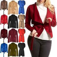 Ladies Womens Blazer Cape Waterfall Long Sleeve Belt Tie Knot Jacket Cardigan