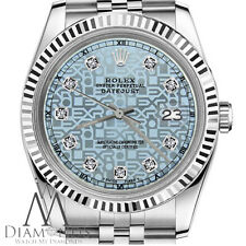 Mens Rolex 36mm Datejust Jubilee Ice Blue Color Dial with Diamond Accent Watch