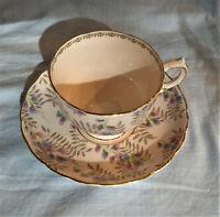 Vintage Tuscan Blue & Pink Floral Bone China Tea Cup & Saucer England Teacup EXC
