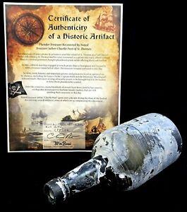 "c. 1850s BLACK GLASS MALLET STYLE RUM PONTIL 9.5"" BOTTLE SEA SALVAGED ARTIFACT"