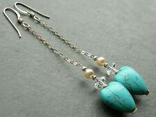 Turquoise Gemstone Heart, Vintage Crystal & Pearl, Sterling Silver Long Earrings