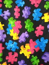 PUZZLE PIECES ON BLACK BACKGROUND POPLIN FABRIC - FQ