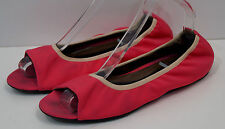 MARNI Hot Pink Fabric Peep Toe Elasticated Opening Slip On Ballerina Flat Shoes