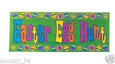 "1 EASTER Party Decoration Prop Colorful EASTER EGG HUNT Plastic BANNER 50""x 20"""