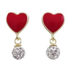 Red Enamel Hearts White Crystal Balls Gold Plated Dangle Earrings