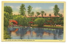 HARRISBURG PA Italian Gardens Bridge Lake Vtg Postcard