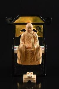 #407: Japan Wooden Lacquer ware BUDDHIST STATUE sculpture Ornaments Buddhist art