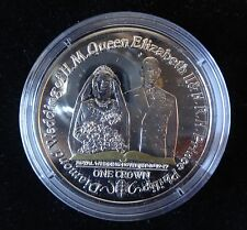 2007 SILVER PROOF GOLD PLATING ISLE OF MAN 1 CROWN COIN QUEEN'S DIAMOND WEDDING
