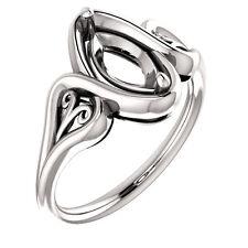 14k White Gold Semi Mount Setting Bridal Wedding Marquise Diamond Filigree Ring