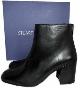 Stuart Weitzman NOTAZZIE Block Heel Black Nappa Booties Ankle Boots 8.5