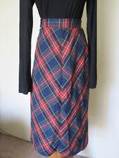 "vtg 70's Red Blue Green Plaid A-Line Christmas Wool blend? Plaid Skirt S 24"" w"