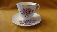 Duchess English Bone China Tea cup set Purple Violets Ribbed Gold Accents LQQK