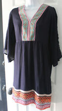 BoHo Gypsy White Mark Blue Embroider Look Tunic Sun Dress Cover Up Casual LARGE
