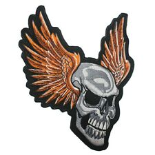 Patch Fer Thermocollant Brodé Crâne Skull Blanc Moto Biker Broderie Ailes Gros