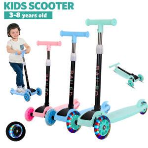 ❤️Folding Push Scooter Kids 3 Flashing Wheels Children Scooter Backsplash Brake