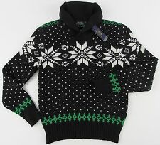 Men's POLO RALPH LAUREN Black Ski Sweater Small S NWT Cotton Angora Cashmere