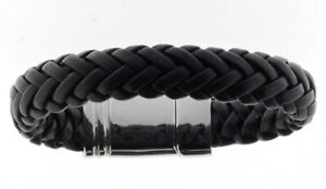 Armband echt LEDER schwarz geflochten EDELSTAHL f. Herren STORCH SCHMUCK Germany