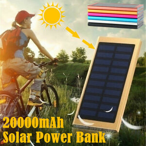 20000mAh Dual USB Portable Charger Solar Power Bank For Cell Phone Android US