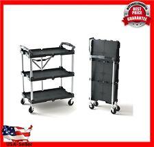 3-Shelf Pack-N-Roll Folding Collapsible Service Cart Storage Organizer, Black
