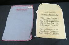 Set of Vintage Shoe Shine Bags, John Marshall & Other Richmond Hotels Listed