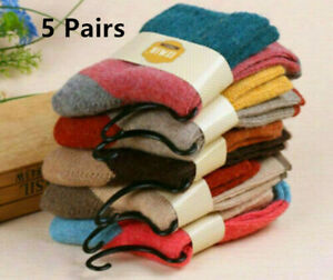 Pack of 5 Women Wool Cashmere Thick Winter Socks Warm Soft Solid Casual Sport