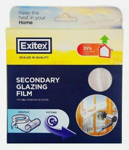 Clear Exitex secondary glazing film 4.5M² Office Home Bedroom Glass windows