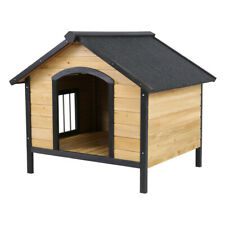 37'' Large Dog Kennel House Outdoor Wooden Pet House Puppy Shelter Beige Us