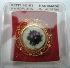 Vintage Austria Gold-Tone Metal Petit Point Embroidery Flower Pin Brooch Violets