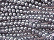 GREY Czech glass round pearl beads - string of 75 beads - 6mm
