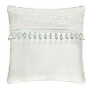 "J. Queen New York Bianco square 18"" x 18"" Decorative throw Pillow White new"