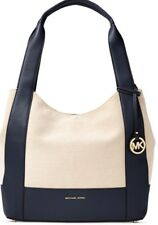 New Michael Kors Marlon Large Canvas Leather admiral Shoulder handbag Tote bag