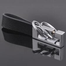2 Loops Black Leather Zinc Alloy Strap Car Keychain Key Ring Keyring Key Fob