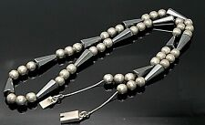 Silver Beaded Modernist Necklace 28 Taxco Mexico Vintage Hematite Solid Sterling