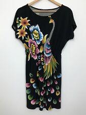 VOK AUSTRALIA Womens Black Floral Bird Print Stretch Short Casual Dress Size 8