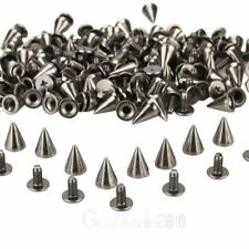 100X  DIY Punk Rock Silver Tone Cone Studs Spikes For Shoes Bags Decoration