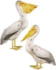 Pelican Sea Bird Pair Metal Statues Coastal Nautical Beach Pool Pond Decor Set/2