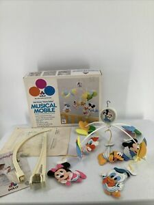 Vintage Dolly Disney Babies Mickey Mouse #641 Musical Mobile Baby Musical 80's