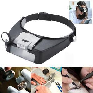 Jewelers Head Headband Magnifier LED Illuminated Visor Magnifying Glasses Loupes