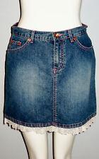 GLO Blue Denim Lace Accented Hemline Mini Skirt