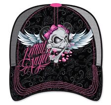 PINK BLACK LETHAL ANGEL WINGS SKULL DEMONIA GOTHIC EMO PUNK SULLEN LUCKY 13 HAT