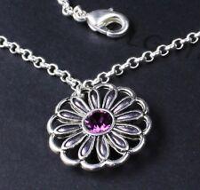 PILGRIM Ankle Chain Silver Filigree Flower Watercolour Purple Swarovski BNWT