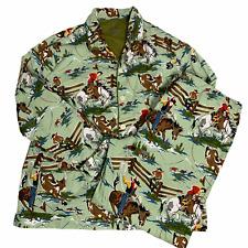 Vintage 90s Nick & Nora Cotton Pajama Set XL Cowboy Rodeo Nirvana Kurt Cobain