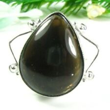 size 8 ! Gift Jewelry & Love Natural black Agate gemstone silver 925 ring