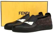 NEW FENDI ROMA BLACK LEATHER MONSTER BUGGIES EYE SNEAKERS SLIP-ON SHOES 10