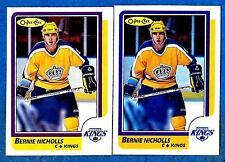 1986-87 O-Pee-Chee Regular & Blank Back BERNIE NICHOLLS (ex-mt) #159 & Error