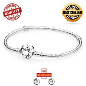 New Genuine Silver Pandora Moments Heart Clasp Charm Bracelet 590719 RRP £55