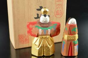 #8640: Japanese Wooden Lacquer ware Person-shaped ORNAMENTS Doll w/signed box