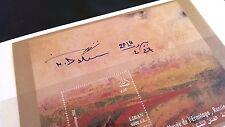 SIGNED souvenir sheet in rare folder Honoring Painter Nizar Daher LEBANON