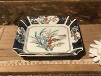 "Asian Porcelain Satsuma Square Plate w/Floral Design Marked 6""x1 1/4"""