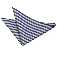 DQT Woven Thin Stripe Navy Blue & Silver Formal Handkerchief Hanky Pocket Square